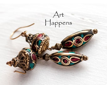 Kathmandu 27: Nepalese Beaded Earrings with Crushed Stone, Tribal, Brass, Enamel style, Coral, Turquoise