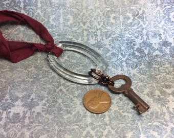 Steampunk handmade  old key and vintage crystal buckle necklace    - Mechanical Romance -