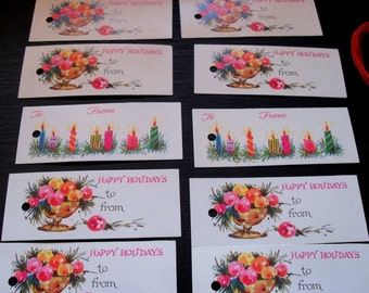 10 Vintage 1960s Christmas Gift String Tags