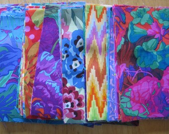 100 - 6 inch squares of Kaffe Fassett fabrics, all different
