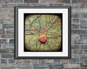 Map art print marry me Sacramento California candy heart custom engagement wedding anniversary gift personalized wall decor