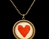 Vintage Red Heart 25mm Round Necklace Vintage Playing Card Heart