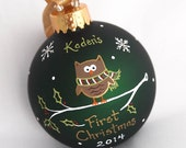 Little Christmas Hoot Owl - Hand Painted and Personalized Ornament