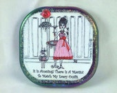 MARTINI - Compact mirror, cat, whimsical funny sayings, Lulu, girlfriend gifts, bridesmaid gifts, humorous illustrations by Sher