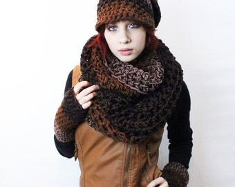 SET WOOD Rasta Love Cowl Hood Vegan scarf slouch hat fingerless gloves black brown taupe