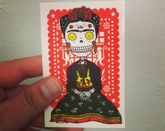 Frida Calavera Vinyl Sticker Day of the Dead
