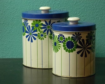 SALE Set of 2 blue and green flower tin canisters