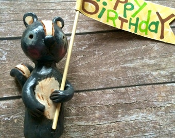 Woodland Skunk cake topper with your choice of number or banner for birthday party or special occasion