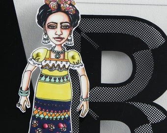 FRIDA Kahlo Paper Art Doll Laminated with movable arms and legs