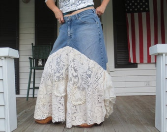 Bohemian Denim and Lace Skirt Made in the USA Extra Large