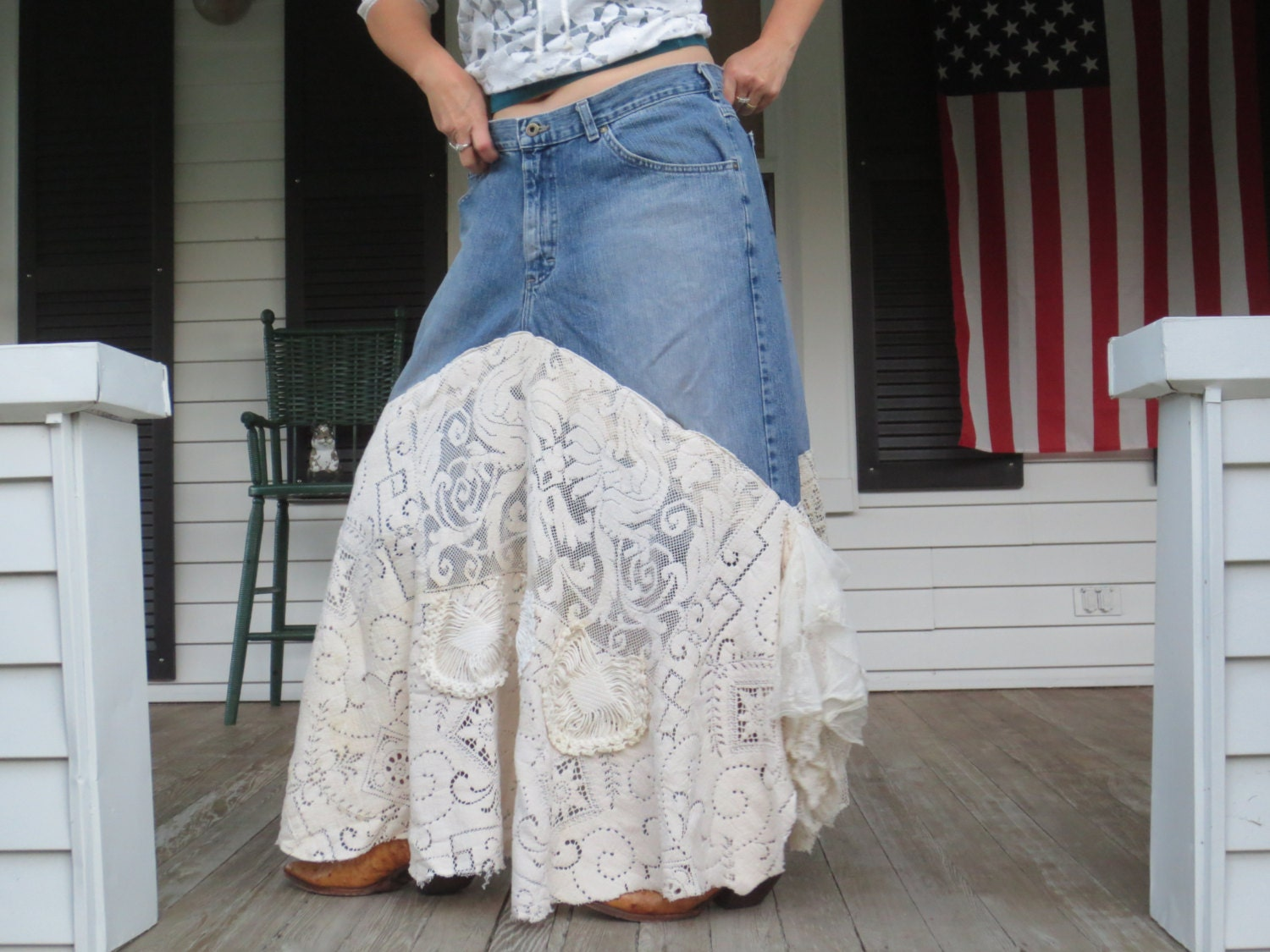 bohemian denim and lace skirt made in the usa large