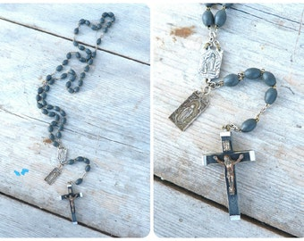 Vintage Antique 1900/1930 old French rosary black wood beads /religious / Christianity
