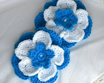 Large Turquoise Blue and White Flower Lapel Pin Brooch - Triple Layer Crochet Flower with Brooch Pin Fitting.