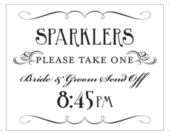 Sparkler Send Off Printable Sign 8:45pm Bride and Groom DIY Digital File PDF Do it Yourself 8x10 and 5x7 Fancy