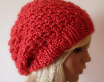 Instant Download Knitting PATTERN, Knit Hat Pattern, Crocheted Slouchy Beanie with Knitted brim