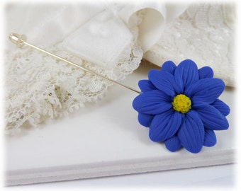 Aster Blue Flower Brooch or Stick Pin - Aster Jewelry, Blue Daisy, September Birthday Birth Flower