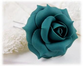 Teal Rose Hair Clip - Teal Rose Hair Pin, Teal Roses
