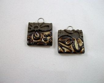 Handmade Chocolate Brown and Beige Ceramic Earring Set