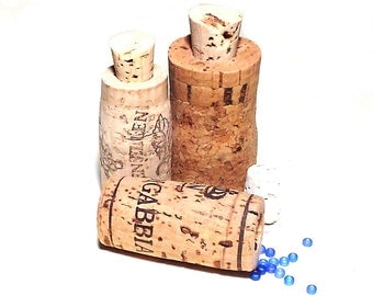 Wine Cork Jar Recycled Containers Set of 3 Bottles Vials
