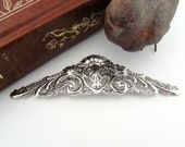 SILVER Large Scrolling Floral Flower & Leaf Stamping ~ Jewelry Antique Silver Finding (FC-6)