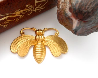 BRASS Art Deco BEE Stamping - Jewelry Ornament Findings (FA-6022)