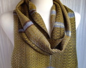 Shades of Gray with Golds Handwoven Scarf DBJ 36
