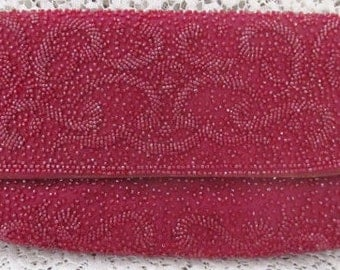 Vintage 1960's Cherry Red Pirovano Heavily Beaded Clutch, Made In Italy Needs Minor Repair, Ships Worldwide
