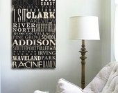 Chicago Neighborhoods typography graphic art on gallery wrapped canvas by Stephen Fowler