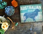 Australian Shepherd Soap dog Company illustration graphic art on canvas panel  by stephen fowler Pick A Size