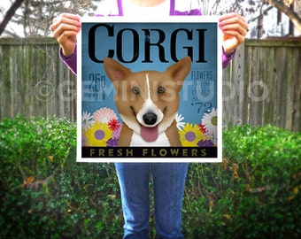 Corgi dog flower Company graphic illustration giclee archival signed artists print by Stephen Fowler Pick A Size