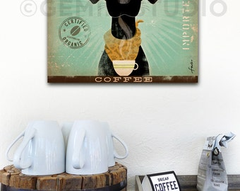 Black Dog Coffee black labrador graphic illustration on gallery wrapped canvas by stephen fowler