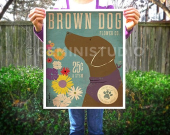 Brown Dog Chocolate lab Labrador retriever flower company original graphic illustration signed artists print by Stephen Fowler Pick A Size