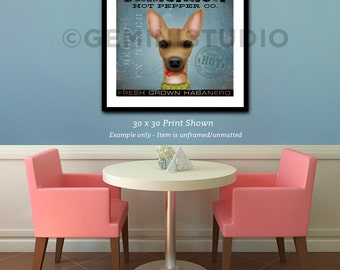 Chihuahua dog Hot Pepper Company illustration giclee signed artist's print by stephen fowler
