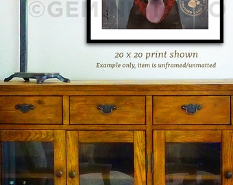 Brown Dog chocolate Labrador Winery artwork graphic illustration signed artists print giclee by Stephen Fowler