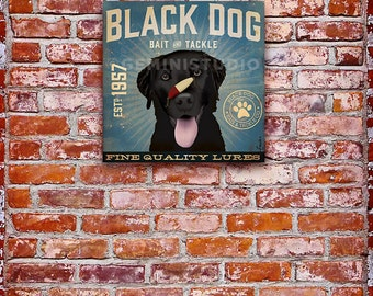 BLACK DOG bait and tackle fishing graphic artwork on gallery wrapped canvas by stephen fowler