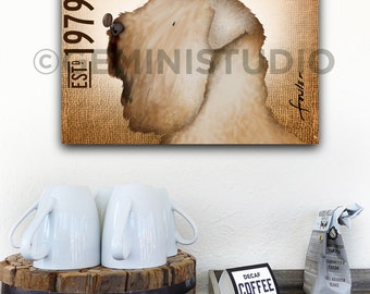 Wheaten Terrier dog Coffee company  illustration on gallery wrapped canvas by stephen fowler gemini studio
