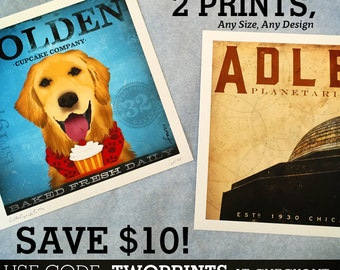 Save ten dollars on any purchase of two giclee prints using code TWOPRINTS at checkout NO NEED to purchase this listing