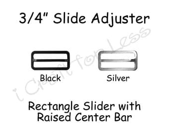 """100 Rectangle Slide Adjusters / Tri Glides / Tri Bars for Adjustable Straps for Bow Ties  - 3/4"""" Black or Silver Metal - SEE COUPON"""