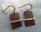 Hammered silver bar wired to hammered natural brass rectangle earrings