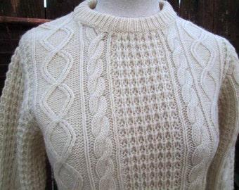 60s Irish Fisherman Vintage cream Wool Sweater Cable knit pullover Crocodile Crew prep Sweater S  M