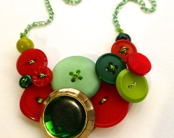 Fun Christmas Necklace with Bright Green and Red Vintage Buttons - Funky Holiday Jewelry