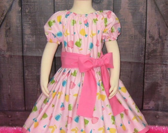 Sale Happy Ever After Peasant Dress Ready to ship size 3/4, Girl Dress, Girl Pink Dress, Fall Dress, Fairy Tale Girl Dress, Toddler Dress