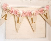 Girl Name Banner, Pink and Gold Birthday, Shabby Chic Nursery Banner, Girl 1st Birthday Decor, Shabby Chic Wedding, Bridal Shower Decor