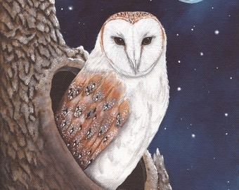 Barn Owl - 8 x 10 Print of Original Acrylic Painting by Carolee Clark
