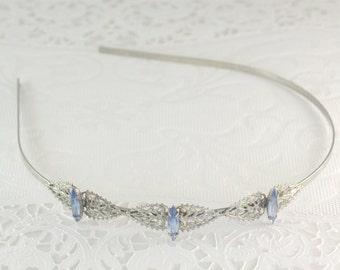 Bridal headband blue crystal silver filigree vintage style wedding hair accessory