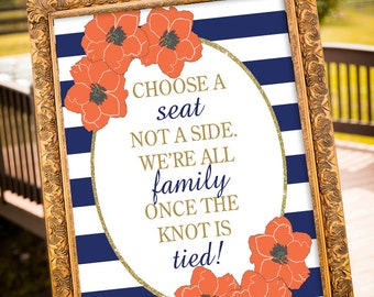 Choose a seat not a side, Coral and Navy Wedding, Wedding Sign Printable, Gold Wedding Decor, Navy & Gold Party Decor, Navy and White Stripe