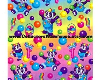 Lisa Frank Panda Painter Bubble Gum Scented Sticker Sheet S950-02 vintage scentsations scratch and sniff