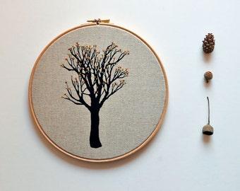 embroidery hoop fiber art - Rio de Mel's Tree Oak Tree