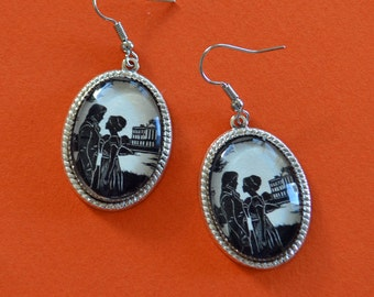 Sale 20% Off // PRIDE AND PREJUDICE Earrings - Elizabeth and Darcy at Pemberley - Silhouette Jewelry // Coupon Code SALE20