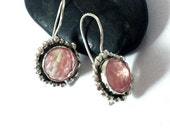 Silver Dangle Cherry Quartz Earrings- Pink Stone Earrings-Round Rosecut Stone Earrings-Artisan Pink Earrings